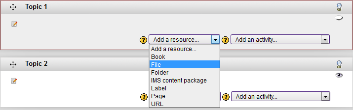 Add a File button under the add a resource drop box
