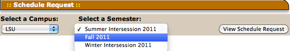 "Selecting the desired semester in the ""Select a Semester"" drop down menu."