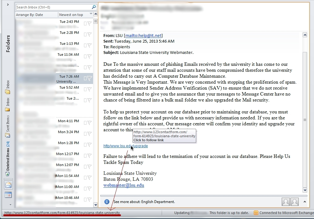 Checking links in Outlook 2010 with a spam message shown