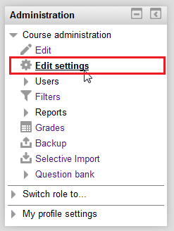 Edit settings option under the Course administration options in the Administration menu.