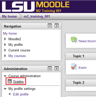 screenshot of the grades option under administration.