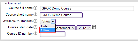 Available to students dropdown menu in the general tab with the Show option selected.