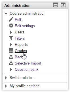 screenshot of grades in administration block