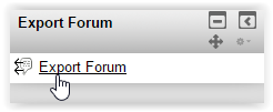 the Export Forum Block; with the Export Forum button selected.