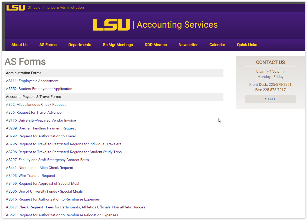 LSU Accounting Services Forms webpage