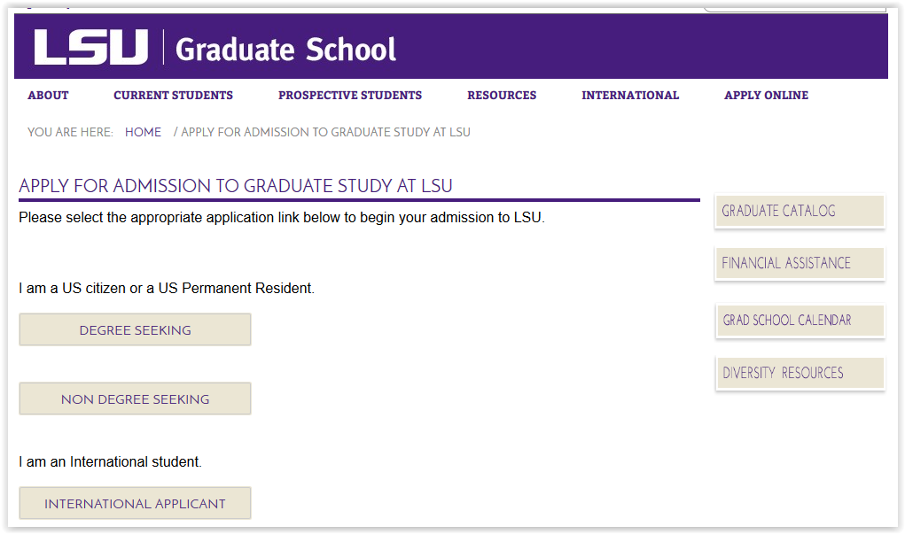 Graduate School Application Page.
