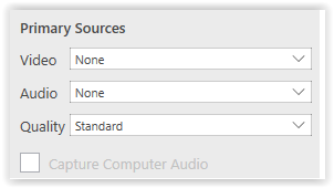 Primary Source for Video and Audio Selection fieldbox