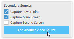 Secondary Sources fieldbox and the add another video source button
