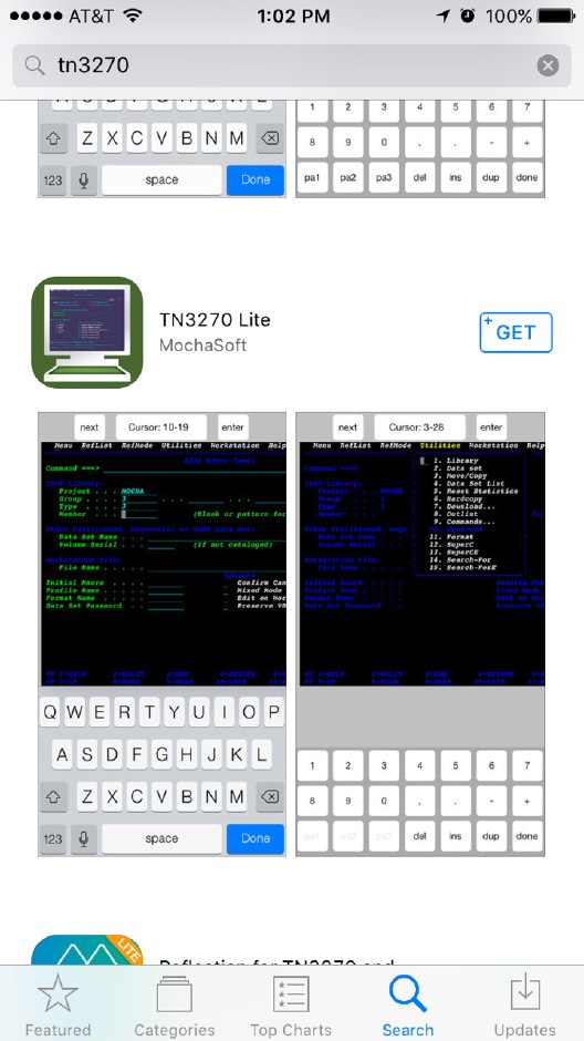 TN3270 Emulator in iOS app store