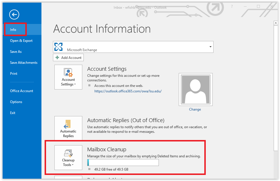 mailbox usage in outlook
