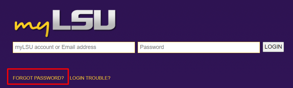 myLSU login screen forgot password link